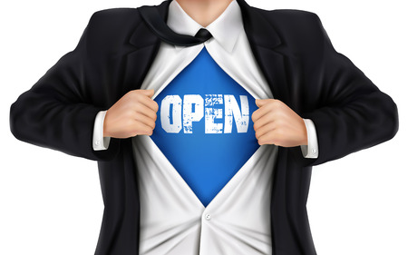 open shirt: businessman showing Open word underneath his shirt over white background