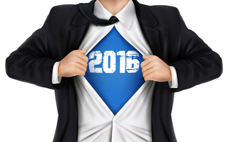 underneath: businessman showing 2016 underneath his shirt over white background