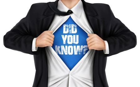 underneath: businessman showing Did you know words underneath his shirt over white background Illustration
