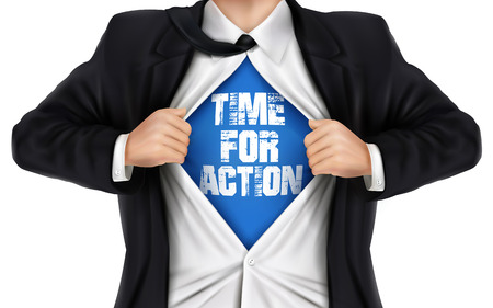 businessman showing Time for action words underneath his shirt over white background