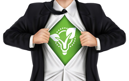 underneath: businessman showing eco icon underneath his shirt over white background Illustration