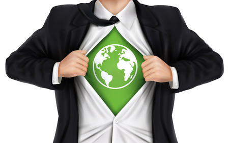 underneath: businessman showing earth icon underneath his shirt over white background