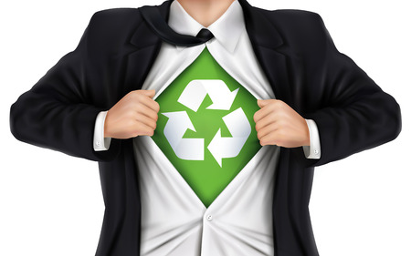 underneath: businessman showing recycle icon underneath his shirt over white background Illustration