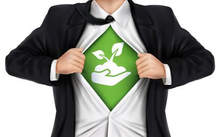 de negocios que muestra el icono de crecimiento por debajo de su camisa sobre fondo blanco