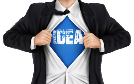 underneath: businessman showing Idea word underneath his shirt over white background Illustration