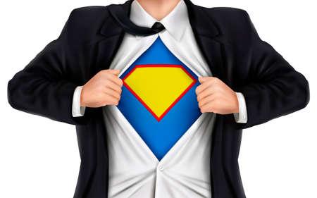 justiz: Gesch�ftsmann, der Superhelden-Symbol unter seinem Hemd �ber wei�em Hintergrund Illustration
