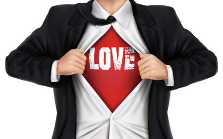 underneath: businessman showing Love word underneath his shirt over white background