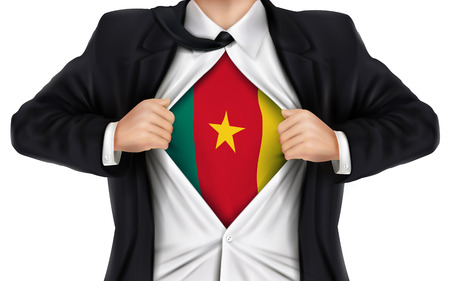 businessman showing Cameroon flag underneath his shirt over white background 向量圖像