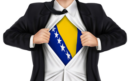 businessman showing Bosnia and Herzegovina flag underneath his shirt over white background 向量圖像