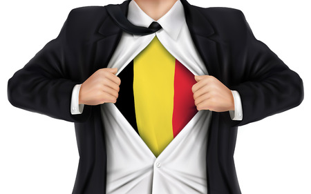 underneath: businessman showing Belgium flag underneath his shirt over white background