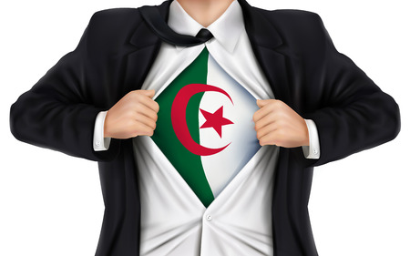 underneath: businessman showing Algeria flag underneath his shirt over white background