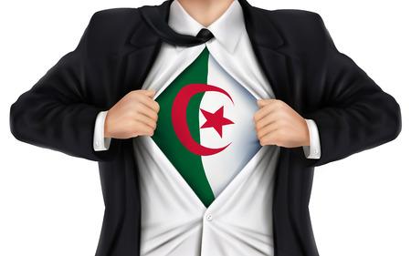 businessman showing Algeria flag underneath his shirt over white background