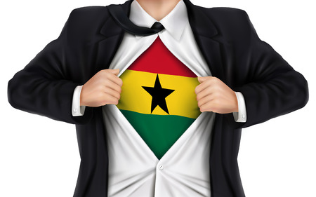 underneath: businessman showing Ghana flag underneath his shirt over white background Illustration