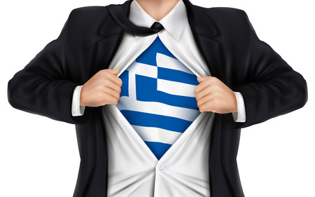 underneath: businessman showing Greece flag underneath his shirt over white background