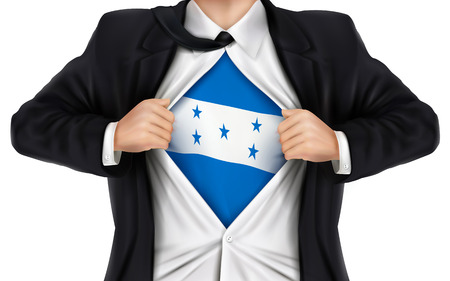 underneath: businessman showing Honduras flag underneath his shirt over white background