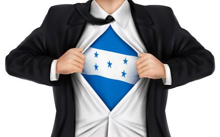 bandera de honduras: de negocios que muestra la bandera de Honduras debajo de su camisa sobre fondo blanco