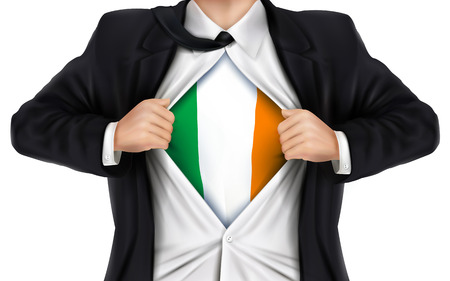 underneath: businessman showing Ireland flag underneath his shirt over white background