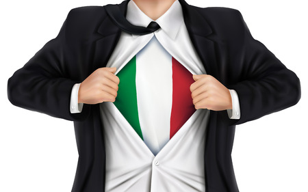 underneath: businessman showing Italy flag underneath his shirt over white background