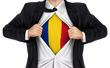 romania flag: businessman showing Romania flag underneath his shirt over white background