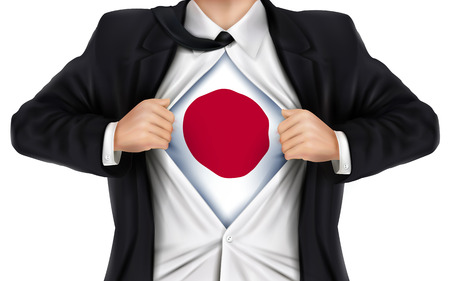 underneath: businessman showing Japan flag underneath his shirt over white background Illustration
