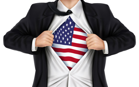 underneath: businessman showing American flag underneath his shirt over white background Illustration
