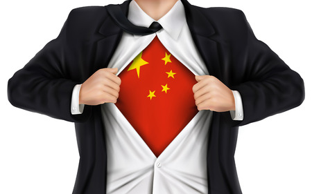 underneath: businessman showing China flag underneath his shirt over white background