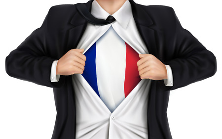 underneath: businessman showing France flag underneath his shirt over white background