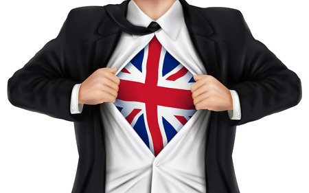 underneath: businessman showing United Kingdom flag underneath his shirt over white background