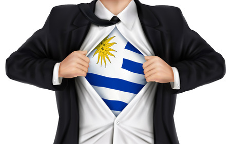 underneath: businessman showing Uruguay flag underneath his shirt over white background