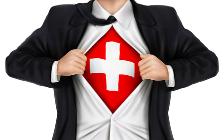 underneath: businessman showing Switzerland flag underneath his shirt over white background