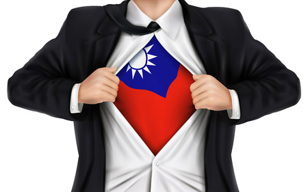 businessman showing Taiwan flag underneath his shirt over white background