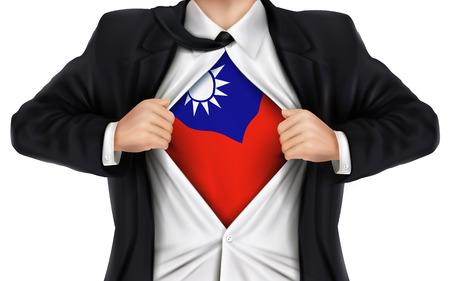 zakenman blijkt Taiwan vlag onder zijn shirt over witte achtergrond Stock Illustratie