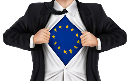 underneath: businessman showing Europe flag underneath his shirt over white background