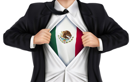 underneath: businessman showing Mexico flag underneath his shirt over white background Illustration