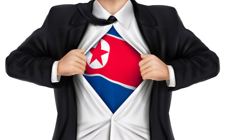 underneath: businessman showing North Korea flag underneath his shirt over white background Illustration