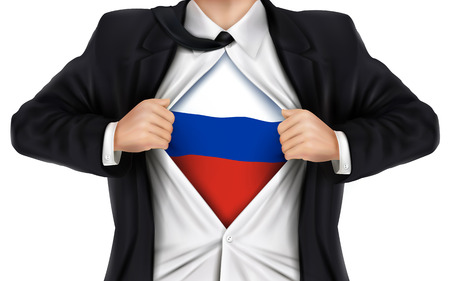 underneath: businessman showing Russia flag underneath his shirt over white background