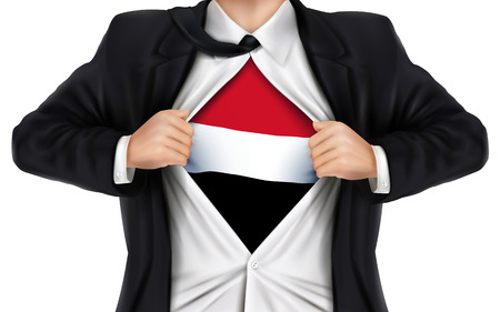 underneath: businessman showing Yemen flag underneath his shirt over white background