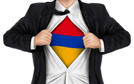underneath: businessman showing Armenia flag underneath his shirt over white background