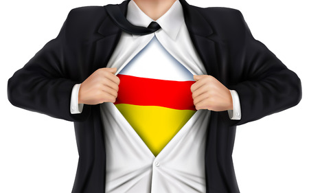underneath: businessman showing South Ossetia flag underneath his shirt over white background Illustration