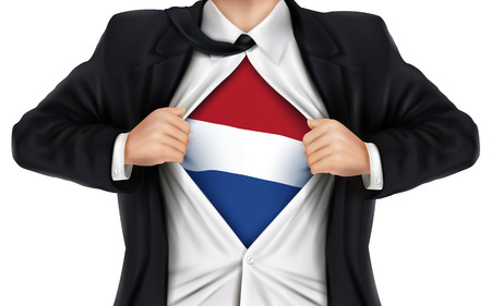 underneath: businessman showing Dutch flag underneath his shirt over white background