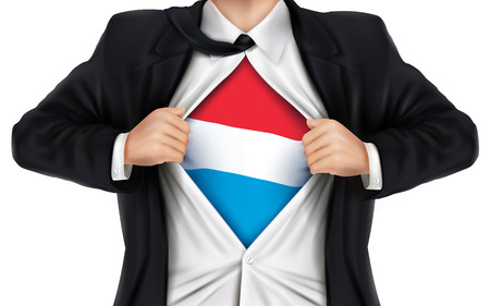 underneath: businessman showing Luxembourg flag underneath his shirt over white background