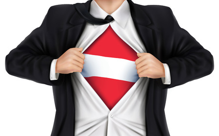 underneath: businessman showing Austria flag underneath his shirt over white background Illustration