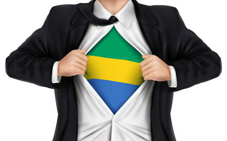 underneath: businessman showing Gabon flag underneath his shirt over white background