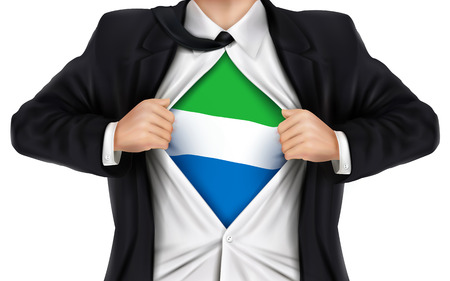 underneath: businessman showing Sierra Leone flag underneath his shirt over white background Illustration