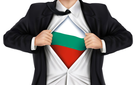 underneath: businessman showing Bulgaria flag underneath his shirt over white background