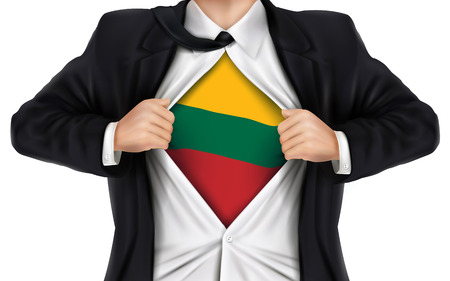 underneath: businessman showing Lithuania flag underneath his shirt over white background