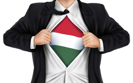 underneath: businessman showing Hungarian flag underneath his shirt over white background