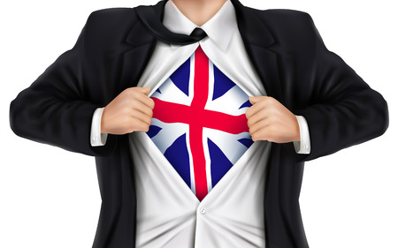 businessman showing Great Britain flag underneath his shirt over white background