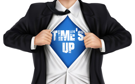 times up: businessman showing Times up words underneath his shirt over white background