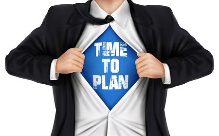underneath: businessman showing Time to plan words underneath his shirt over white background Illustration
